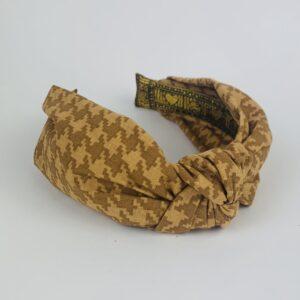 Lila Beige Dogstooth Turban Headband