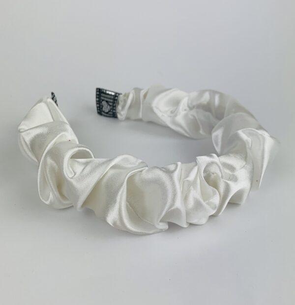 Lila Ivory Satin Ruffle Headband