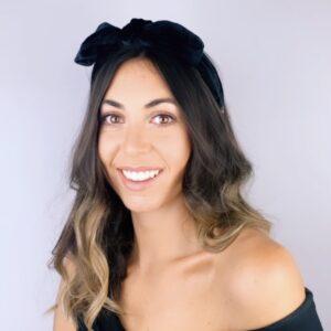 Lila Black Velvet Bow Headband