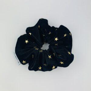 Lila Black Velvet Star Scrunchie