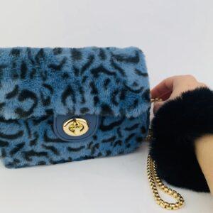 Lila Blue Leopard Bag & Scrunchie Set