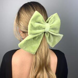 Lila Green Velvet Bow Hair Clip