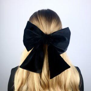 Lila Black Velvet Bow Hair Clip