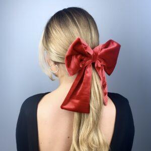 Lila Red Velvet Bow Hair Clip