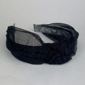 Lila Black Mesh Sparkle Turban Headband