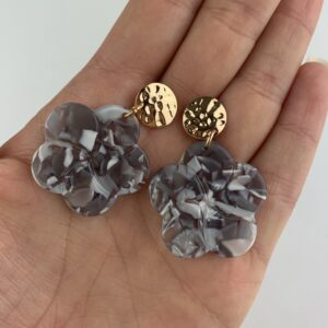 Lila Grey Marble Flower Earrings