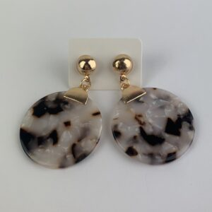 Lila Marble Disk Earrings